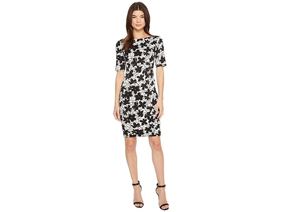 Calvin Klein Printed 3/4 Sleeveless Floral Compression Jacquard CD8E28JW (Black/White) Women