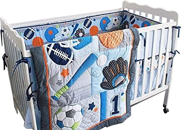 新款 7 件装男宝宝运动婴儿床床上用品套装