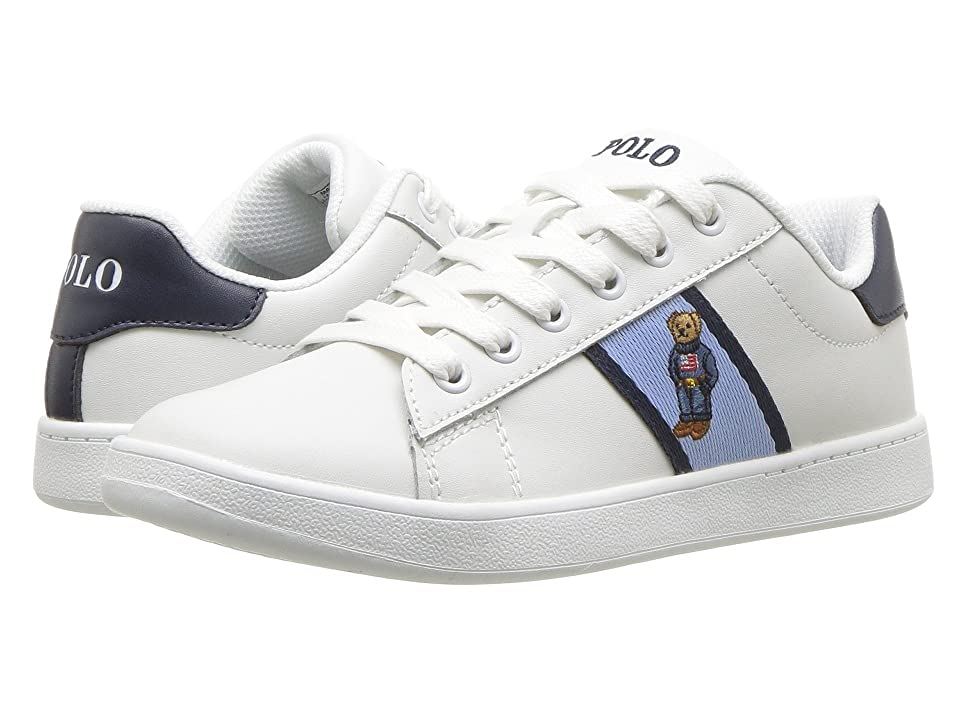 Polo Ralph Lauren Kids Quilton Bear (Little Kid) (White Leather/Blue/Navy Striping/Americana Boy Bear) Boy