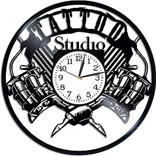 Kovides Tattoo Studio Wall Art Lp Vinyl Retro Record Wall Clock Exclusive Tattoo Salon Gift Birthday Gift for Man Tattoo Studio Clock Xmas Gift Idea for Woman Wall Clock Modern