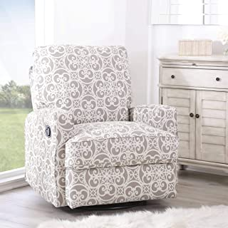 Luca Grey Floral Swivel Glider Recliner Chair Solid Modern Contemporary Pattern Fabric Foam Wood