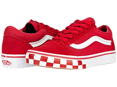 Vans Kids Old Skool (Big Kid) ((Check Bumper) Chili Pepper/True White) Boys Shoes