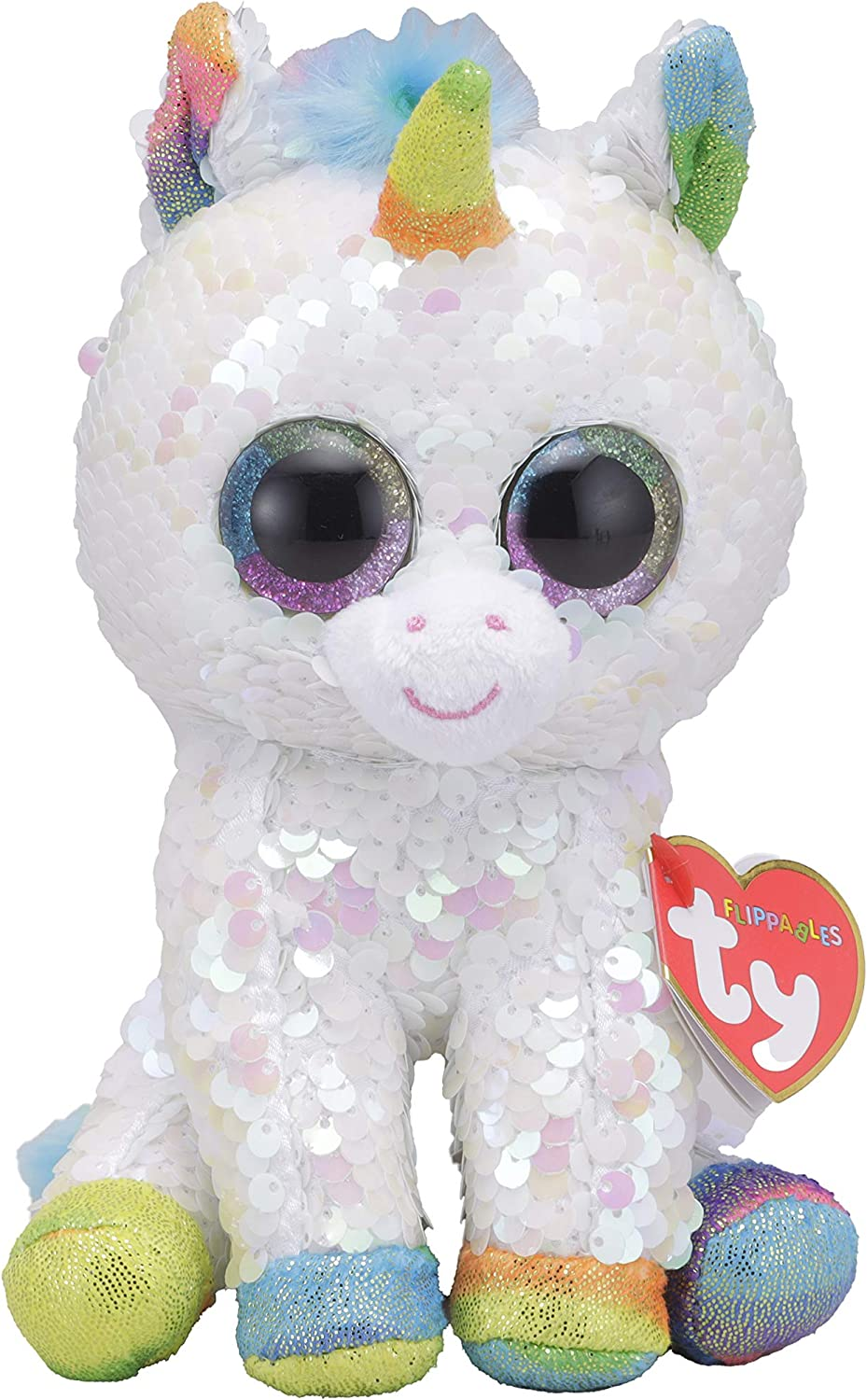 "Pixy Unicorn Sequin TY Beanie Babies Flippables Plush stuffed animal 6/"" new"