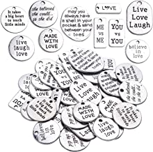 BronaGrand 40pcs Mixed Inspiration Words Charms Beads Charm Message Pendants for DIY Jewelry Making Choker Necklace Bracelet(Antique Silver)