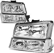 Chrome Housing Clear Corner Headlight+Bumper Light for Chevy Silverado Avalanche 03-06 w/o Factory Cladding