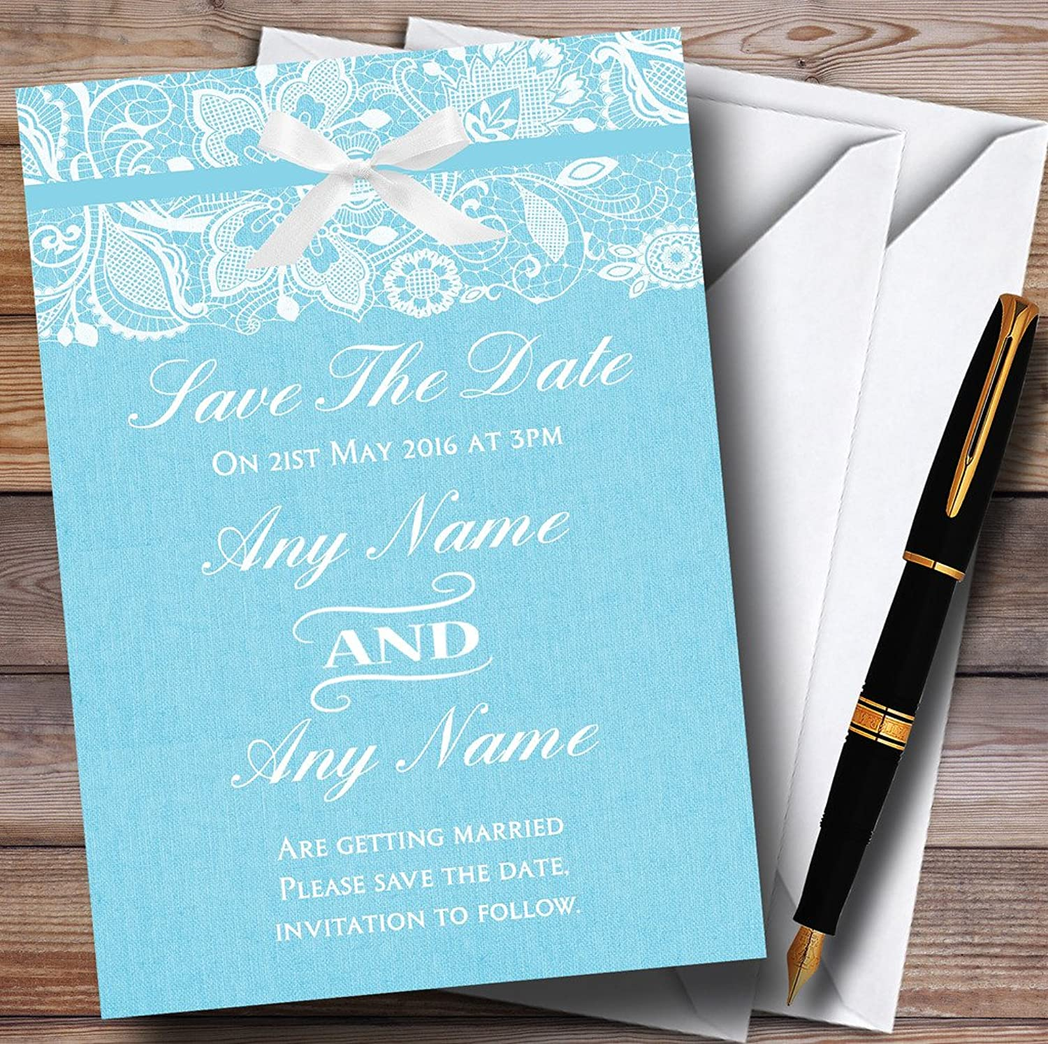 Vintage Aqua Sky bluee Burlap & Lace Personalised Wedding Stationery Save The Date Cards