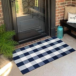 "USTIDE Buffalo Check Rug Navy and White Plaid Doormat Cotton Buffalo Checkered Outdoor Rug 27.5""x43.3"" Washable Farmhouse/..."