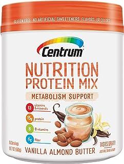 Centrum Nutrition Protein Mix Metabolism Support, Vanilla Almond Butter Flavor | Gluten Free, Vitamins, Minerals, B Vitamins, Fiber | 19.9 Oz, 16 Servings