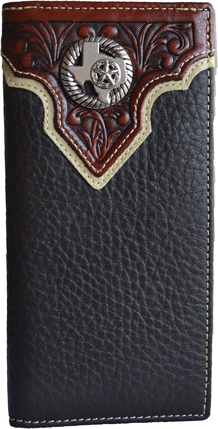 Men western texas star state map concho slim leather long bifold wallet (black)