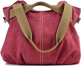 LOSMILE Damen Leinwand Handtasche Schultertasche Leinentasche Umhängetasche Tragetasche Henkeltasche Hobo Tasche Rote