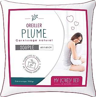 My Lovely Bed - Almohada Natural 60x60cm - Relleno de Pluma y Plumón - Funda 100% Algodón - Gonflant y Mullido Ultra Confort