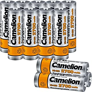 Camelion AA 2700mAh High Capacity NiMh Rechargeable Batteries (12 Count) pre-Charged with Battery Storage Box for high Drain Devices, Toys, shavers, Gaming Controls, Camera Flashlight, Microphones