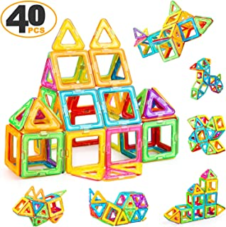 ZENFOLT Magnetic Blocks, Creative Magnetic Tiles Building Blocks Toys Set, 40 PCS Magnet Tiles STEM Preschool Educational Construction Kit for Preschool Toddlers, Kids, Girls, Boys