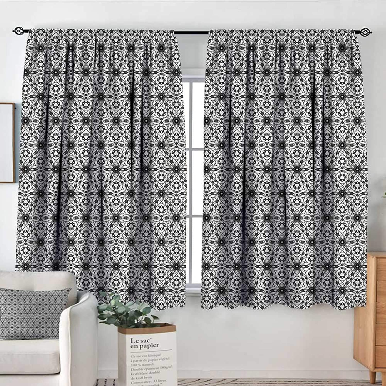 Sanring Grey and White,Backout Curtain Boho Floral Art 42 X63  Patterned Drape for Kids Bedroom