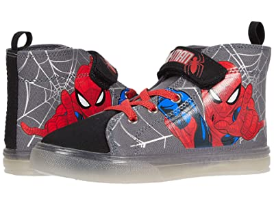 Favorite Characters Spidermantm Lighted Canvas High-Top SPF711 (Toddler/Little Kid) (Black) Boy