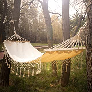 INNO STAGE Cotton Fabric Hammock with Wood Spreader Bar and Fringed Macrame, Handmade Boho Large Brazilian Macrame Fringe Hammock for Indoor, Outdoor, Patio, Porch, Yard, Hiking, Travel, Decor