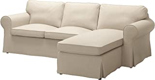 IKEA Ektorp Cover for Sofa with Chaise - Nordvalla Dark Beige (Slipcover Only)