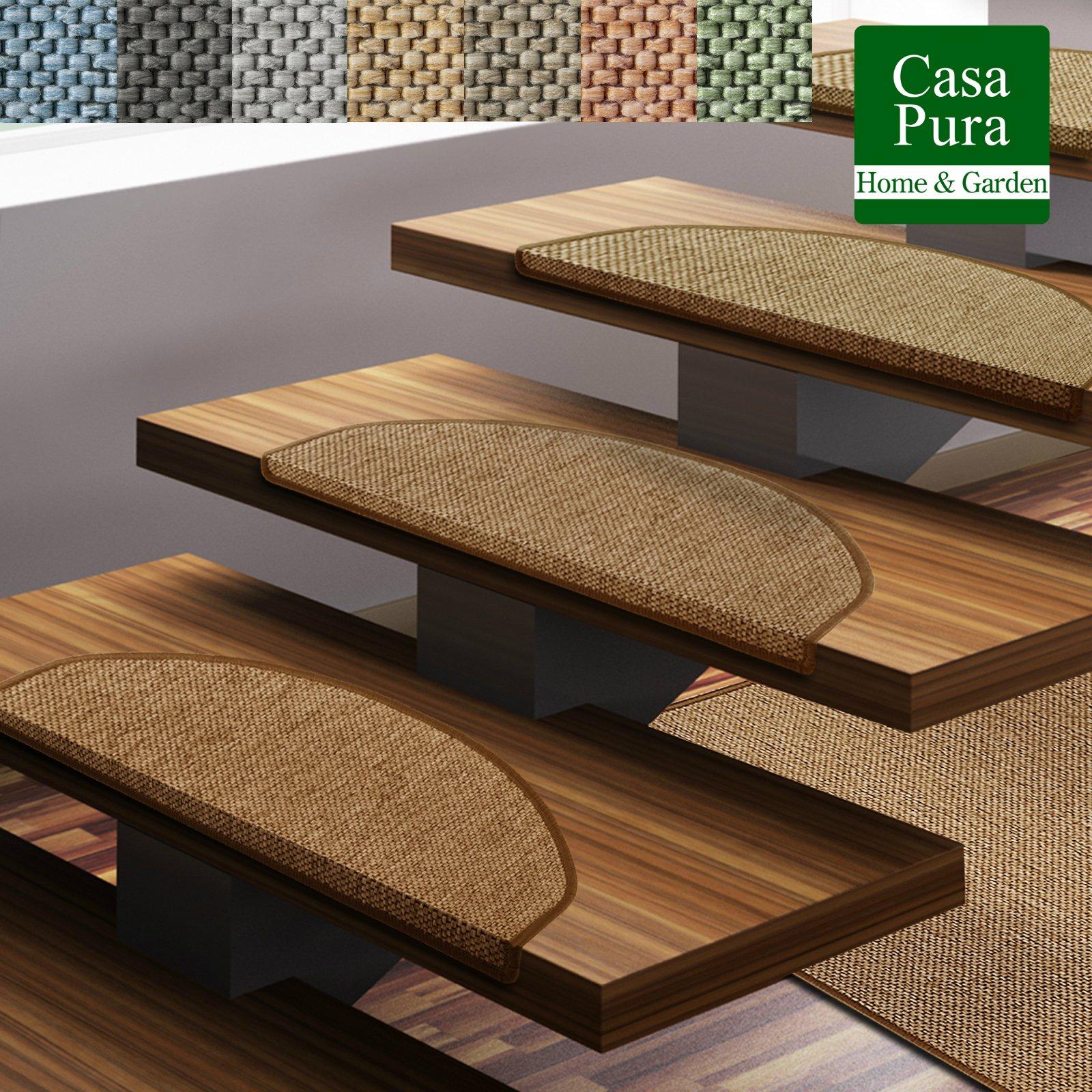casa pura Alfombras para Escaleras - Alfombras Peldaños | SABANG | Certificado GUT | Antideslizantes | Semicirculares | Set 15pz (Natural, 23.5x65cm): Amazon.es: Hogar