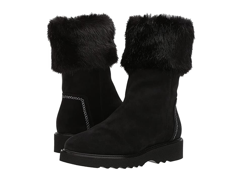 Aquatalia Kelly (Black Suede/Faux Fur) Women