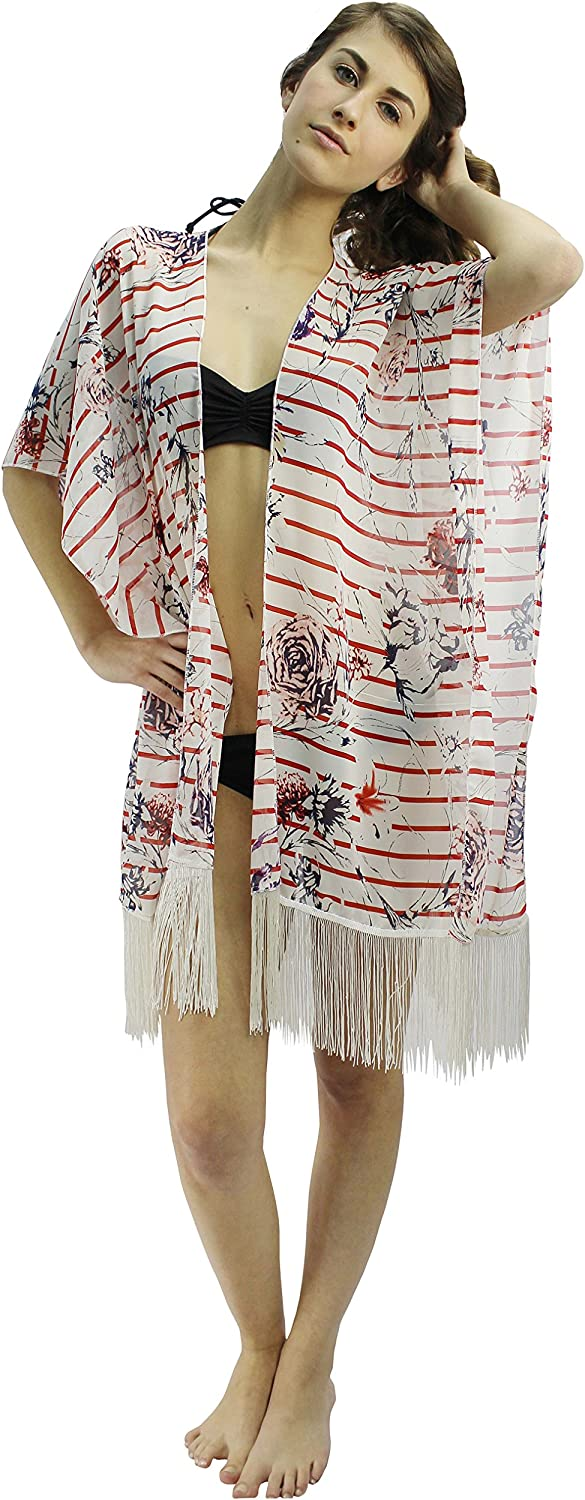 Luxury Divas Red White & bluee Floral Striped Kimono CoverUp With Fringe