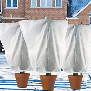 winemana 3 Pack W32 x H39 inch Plant Covers Winter Drawstring Plant Freeze Protection Cover Bags Antifreeze Cover, Reusabl...