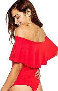 May Maya Women s Off Shoulder with Ruffle Overlay Bodysuit 66b063f6e