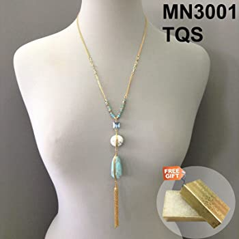 Long Black Suede Silver Finish Rings Design Chain Tassel Pendant Necklace Set Gold Cotton Filled Gift Box for Free