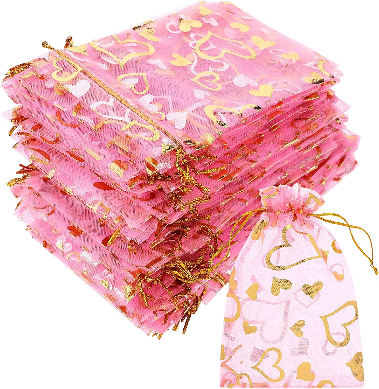 100 Pieces 4 x 6 Inch Denver Mall Valentine's Day Organza Heart discount Sheer D Bags