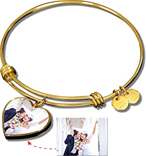 Personalized Bangle with Your Custom Name & Photo - Customized Bracelet with Heart Pendant & Engraved Text, Name on Back - Best Gift for Women, Valentine Wedding Gift