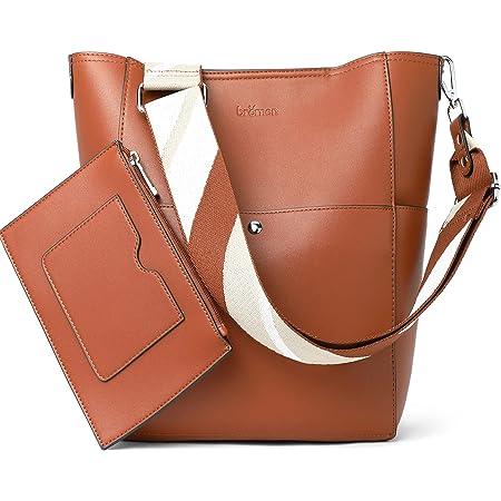 Handtasche Damen Schultertasche Umhängetasche Groß Shopper Designer Damen Tasche Beuteltasche mit Geldbörse Braun