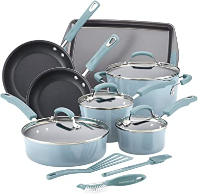 Rachael Ray Hard Enamel Cookware And Accessories, 14 Piece Set, Agave Blue