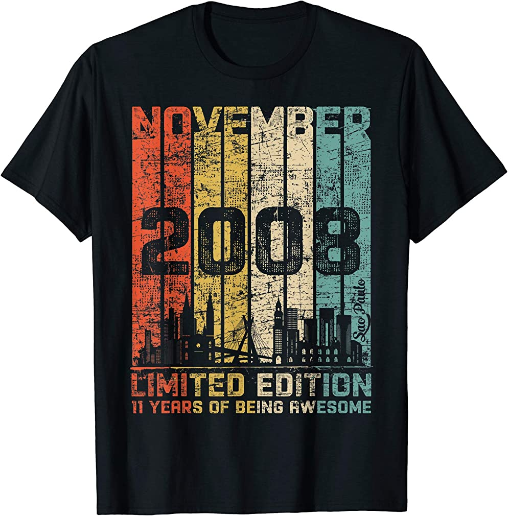 Classic 11th Birthday Gift Boys Girls Vintage November 2008 T-shirt