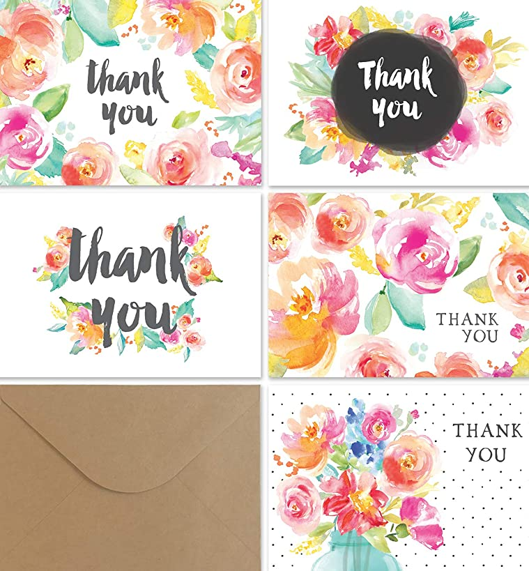 Thank You Cards Bulk Set | 36 Floral Thank You Notes with Kraft Envelopes | Blank Inside | Perfect for Baby Showers, Weddings, Bridal Showers, Women, and Business | By Angie Makes
