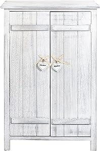 Rebecca SRL Cajonera Comoda Mueble 2 Puerta Decapado Vintage Dormitorio Baño Entrada (Cod. RE4573)