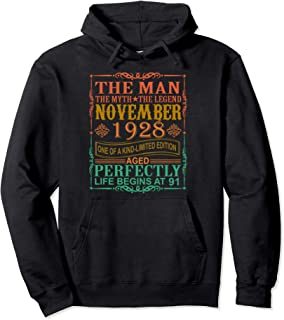 1928 Man Myth Legend November 91st Bday Gifts 91 yrs old Pullover Hoodie