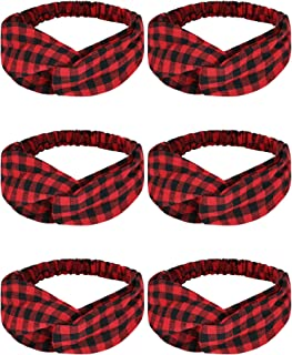 6 Pieces Plaid Headbands Plaid Criss Cross Headbands Retro Plaid Elastic Head Wraps Plaid Christmas Hair Accessories for Women Girls (Red and Black Plaid Color)