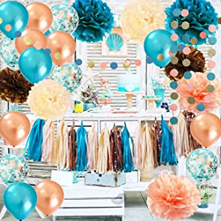Fall Teal Bridal Shower Decorations Qian's Party Teal Rose Gold Fall Wedding Decor/Teal Rose Gold Confetti Ballons/Bachelorette/Birthday Party Decorations of Autumn for Women's 30th/40th/50th