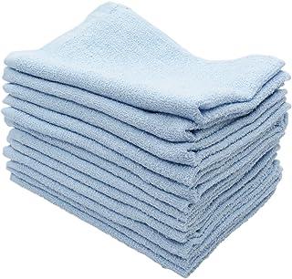 おしぼり カラータオル 業務用 12枚入り 綿100% 約30g ブルー 38×28cm