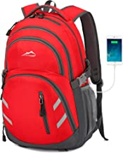 Backpack Bookbag for School College Student Business Travel with USB Charging Port Fit Laptop Up to 15.6 Inch Red Red Medium