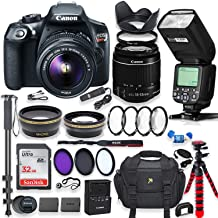 Canon EOS Rebel T6 DSLR Camera with 18-55mm is Lens Bundle + Speedlight TTL Flash + 32GB Memory + Filters + Monopod + Spider Tripod + Professional Bundle