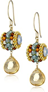 Miguel Ases Champagne Quartz and Blue Double-Sided Swarovski Drop Earrings
