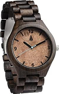 Treehut Men's Black Ebony + Walnut Burl Wooden Watch with All Wood Strap Quar.