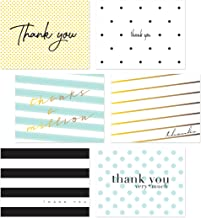 60 Thank You Postcards, Assorted Polka Dot Striped Thank You Flat Note Cards, Bulk All Occasion Thank You Note Card Set, T...