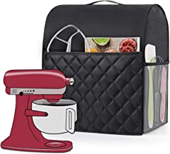 Luxja Dust Cover Compatible with 6-8 Quart KitchenAid Mixers, Dust Cover with Handle for 6-8 Quart Stand Mixers and Extra Accessories, Black(Quilted Fabric)