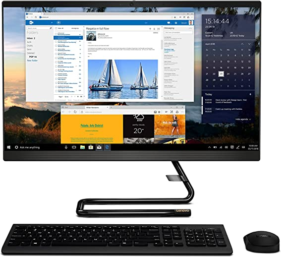 "Lenovo IdeaCentre A340 23.8"" FHD IPS All-in-One Desktop (10th Gen Intel Core i3-10110U/8GB/512GB SSD/Win 10/Office/with Slim DVD±RW/HD 720p Camera/Wireless Keyboard & Mouse), Business Black F0E800U0IN"
