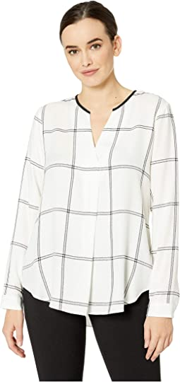 Long Sleeve Open Windowpane Split-Neck Tunic