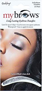 Godefroy MyBrows Long Lasting Eyebrow Transfers, Low Arch, Natural Black, 12-Pairs of Brows