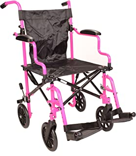 Ultra Lightweight Pink Folding Travel Transport Aluminium Wheelchair in Bag with Height Adjustable footrests ECTR05-PINK