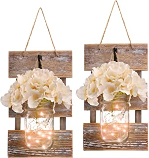 HOMKO Mason Jar Wall Decor with LED Fairy Lights and Flowers – Farmhouse Home Decor (Set of 2)