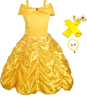 Girls' Princess Belle Dress Up Costumes Halloween Costume Fancy Dress with Accessories